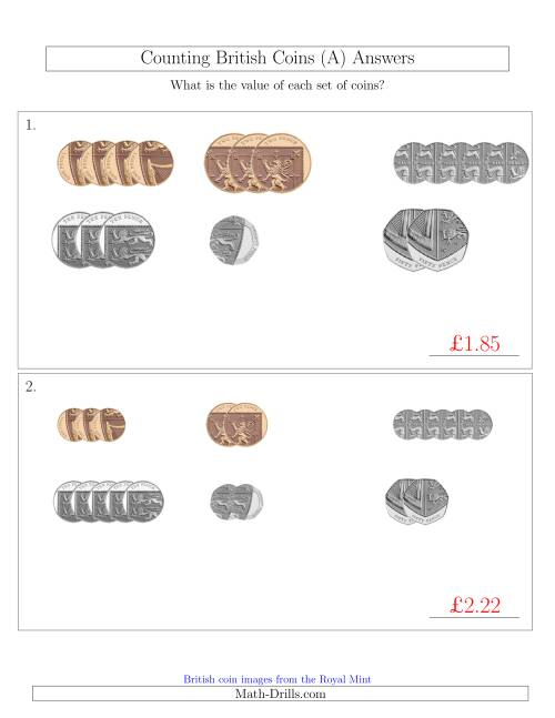 The Counting Small Collections of British Coins (No Pound Coins) (A) Math Worksheet Page 2