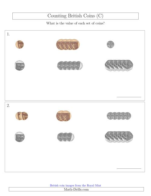 The Counting Small Collections of British Coins (No Pound Coins) (C) Math Worksheet
