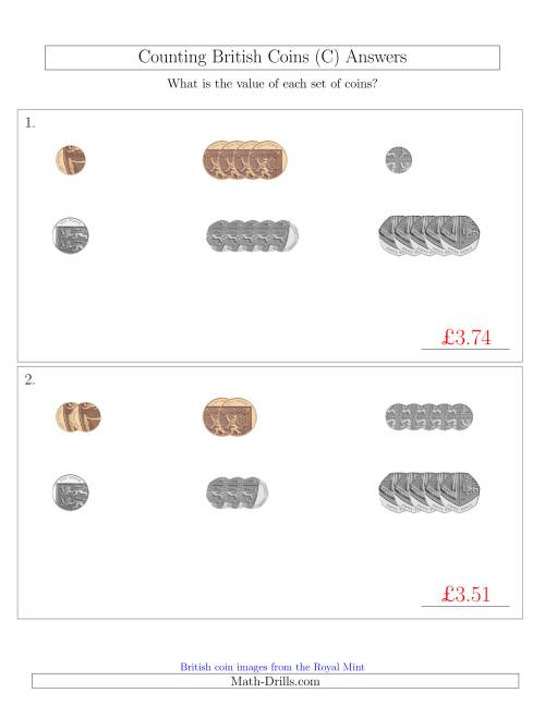 The Counting Small Collections of British Coins (No Pound Coins) (C) Math Worksheet Page 2