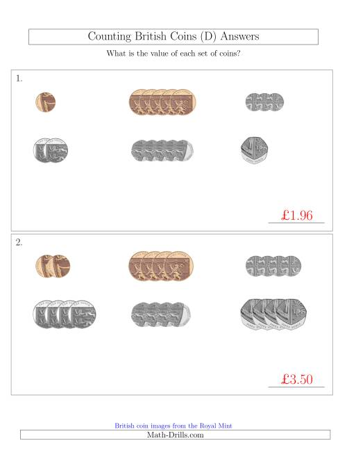 The Counting Small Collections of British Coins (No Pound Coins) (D) Math Worksheet Page 2