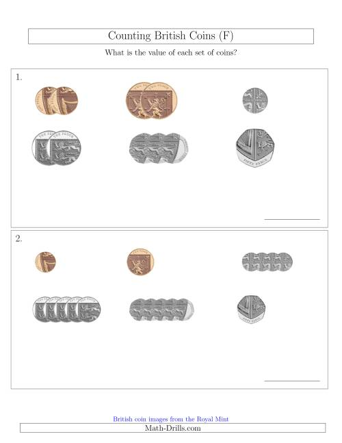 The Counting Small Collections of British Coins (No Pound Coins) (F) Math Worksheet