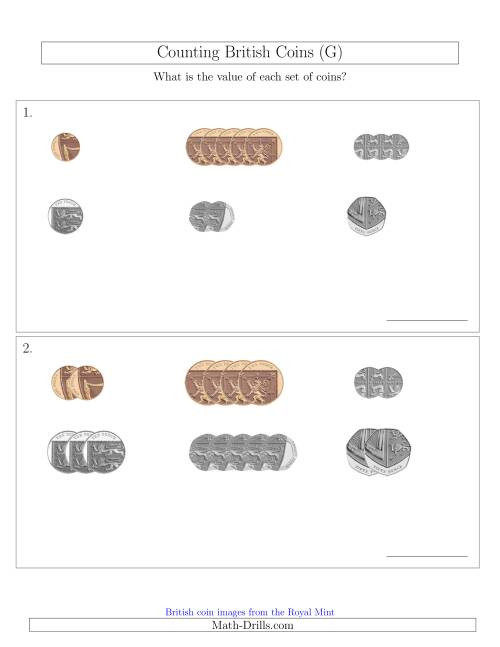 The Counting Small Collections of British Coins (No Pound Coins) (G) Math Worksheet
