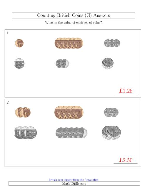 The Counting Small Collections of British Coins (No Pound Coins) (G) Math Worksheet Page 2