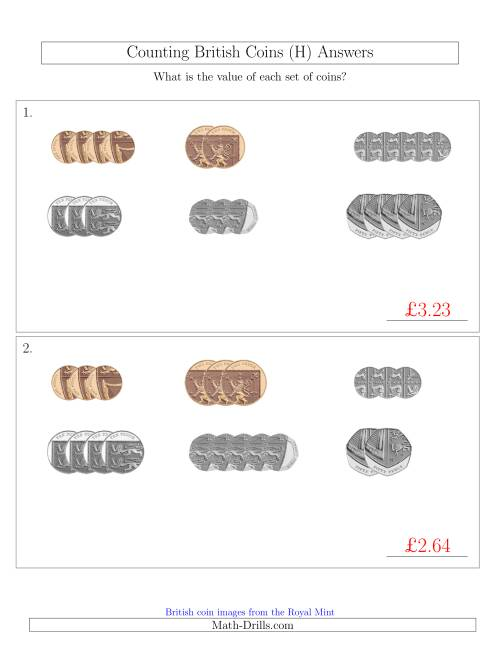 The Counting Small Collections of British Coins (No Pound Coins) (H) Math Worksheet Page 2
