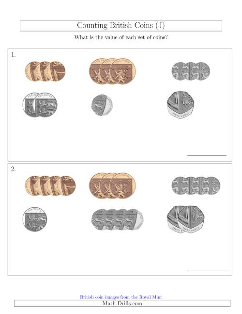 The Counting Small Collections of British Coins (No Pound Coins) (J) Math Worksheet