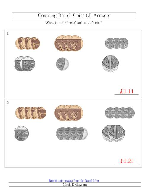 The Counting Small Collections of British Coins (No Pound Coins) (J) Math Worksheet Page 2