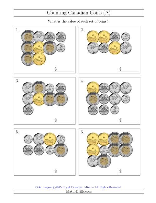 The Counting Canadian Coins (A) Money Worksheet