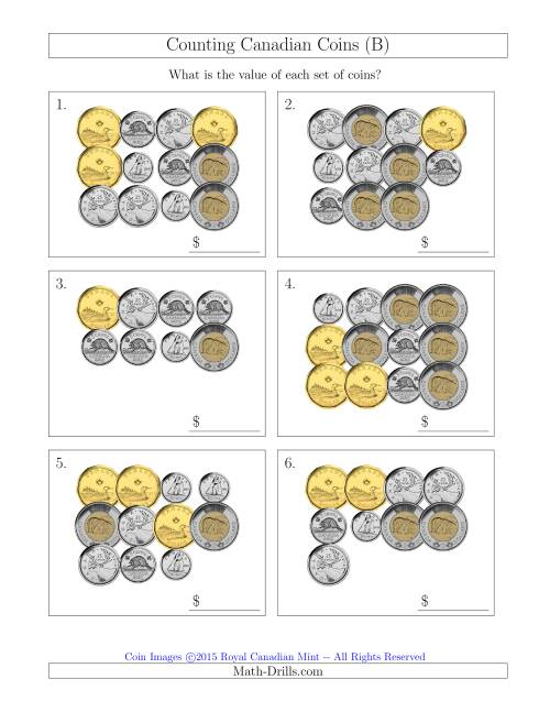 The Counting Canadian Coins (B) Math Worksheet