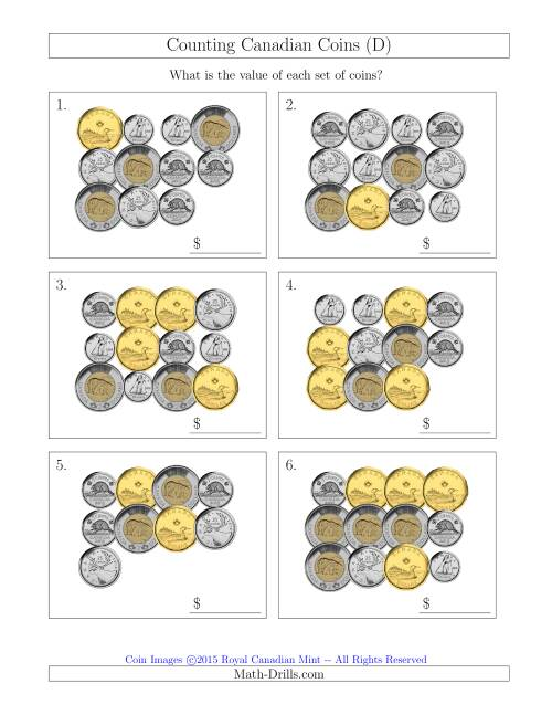 The Counting Canadian Coins (D) Math Worksheet