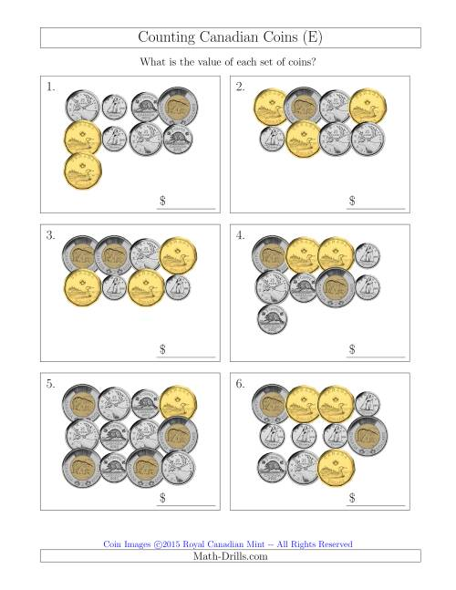 The Counting Canadian Coins (E) Math Worksheet