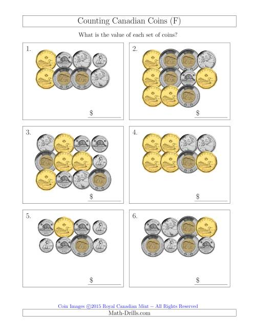 The Counting Canadian Coins (F) Math Worksheet