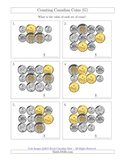 The Counting Canadian Coins (G) Math Worksheet