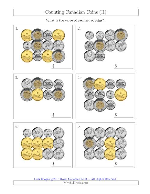 The Counting Canadian Coins (H) Math Worksheet