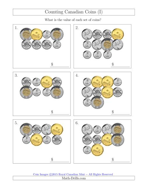 The Counting Canadian Coins (I) Math Worksheet