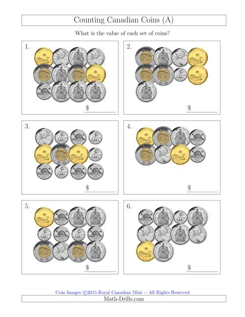 The Counting Canadian Coins Including 50 Cent Pieces (A) Math Worksheet