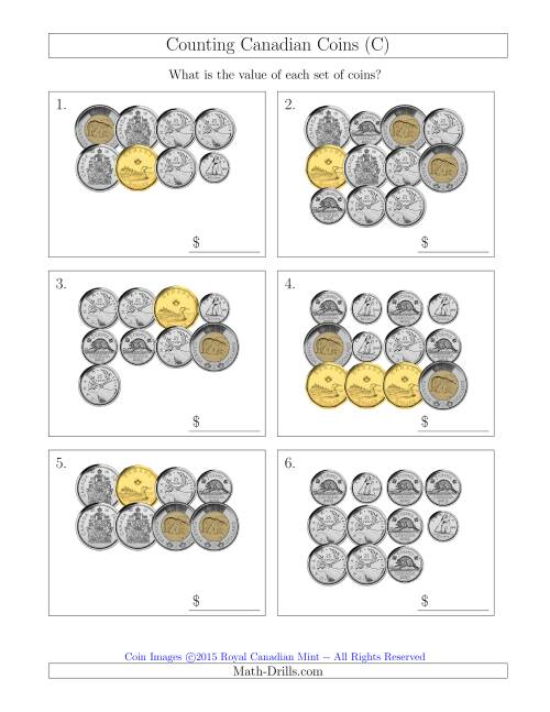 The Counting Canadian Coins Including 50 Cent Pieces (C) Math Worksheet