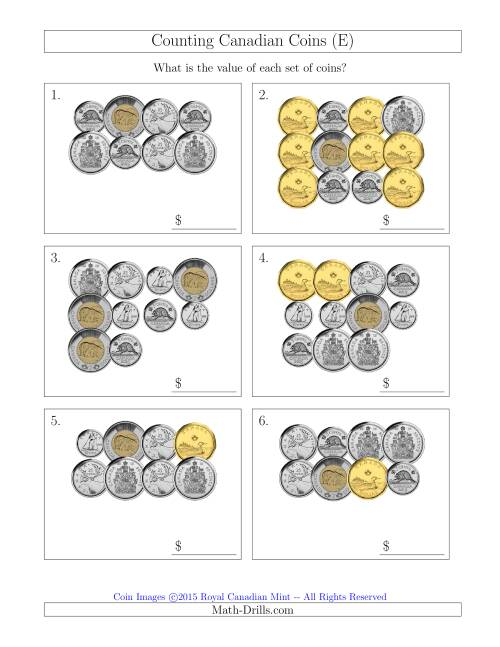 The Counting Canadian Coins Including 50 Cent Pieces (E) Math Worksheet