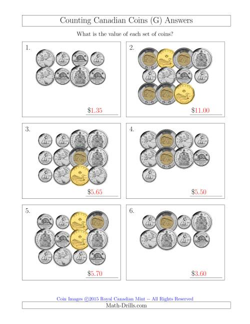 The Counting Canadian Coins Including 50 Cent Pieces (G) Math Worksheet Page 2