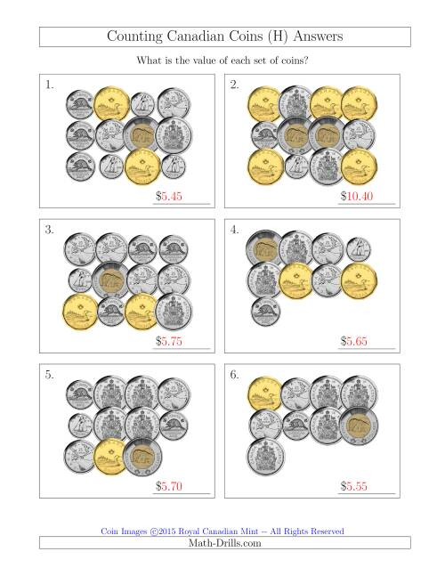 The Counting Canadian Coins Including 50 Cent Pieces (H) Math Worksheet Page 2