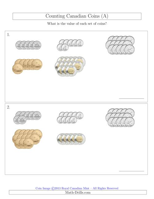 The Counting Canadian Coins Sorted Version (A) Math Worksheet
