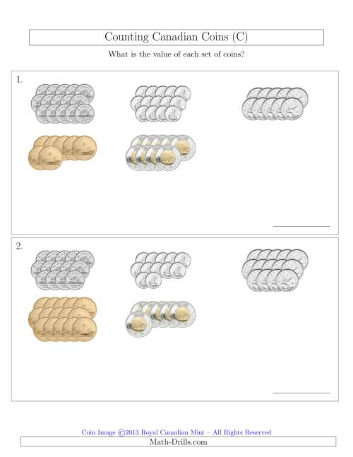 The Counting Canadian Coins Sorted Version (C) Math Worksheet