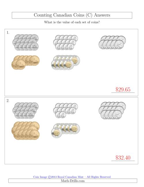 The Counting Canadian Coins Sorted Version (C) Math Worksheet Page 2