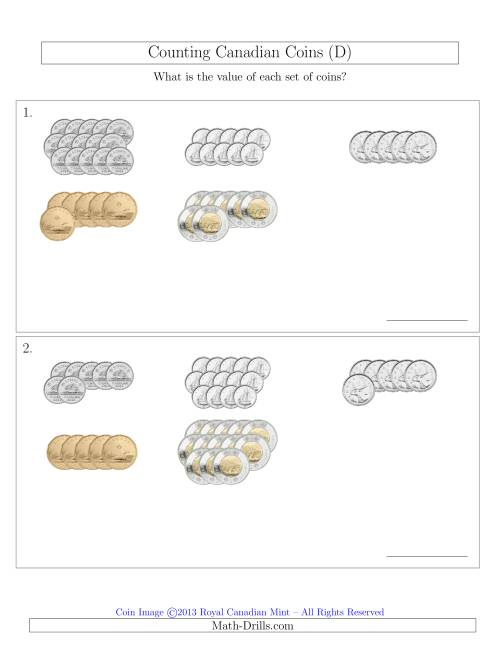The Counting Canadian Coins Sorted Version (D) Math Worksheet