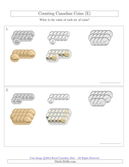 The Counting Canadian Coins Sorted Version (E) Math Worksheet