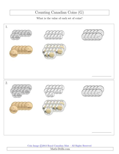 The Counting Canadian Coins Sorted Version (G) Math Worksheet