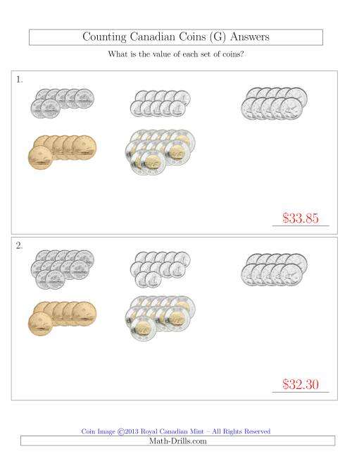 The Counting Canadian Coins Sorted Version (G) Math Worksheet Page 2