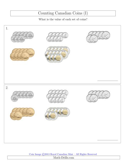 The Counting Canadian Coins Sorted Version (I) Math Worksheet