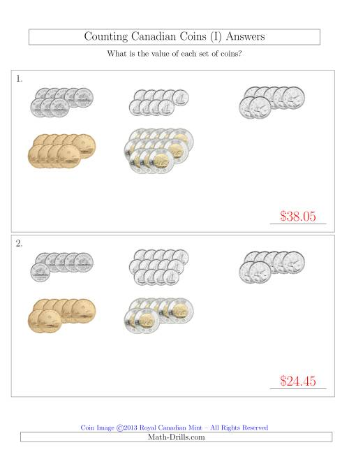 The Counting Canadian Coins Sorted Version (I) Math Worksheet Page 2
