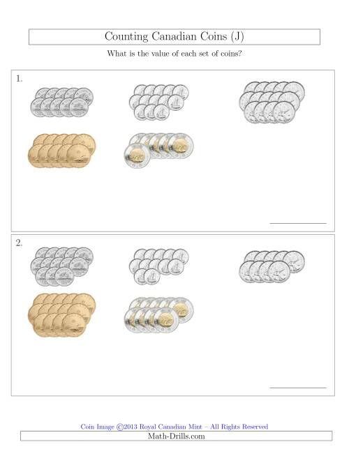 The Counting Canadian Coins Sorted Version (J) Math Worksheet