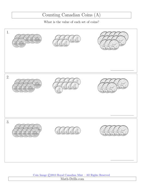 The Counting Canadian Coins Sorted Version (No Dollar Coins) (A) Math Worksheet