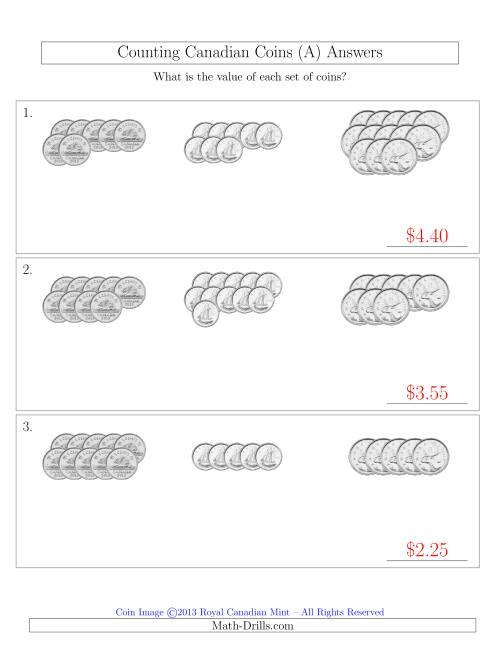 The Counting Canadian Coins Sorted Version (No Dollar Coins) (A) Math Worksheet Page 2