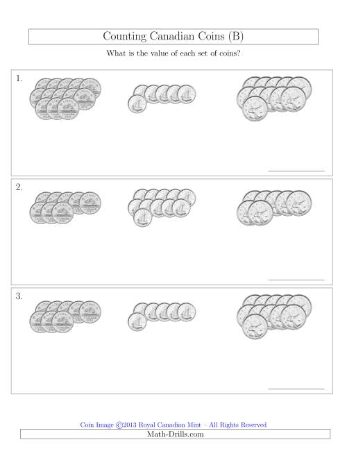 The Counting Canadian Coins Sorted Version (No Dollar Coins) (B) Math Worksheet