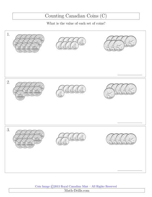 The Counting Canadian Coins Sorted Version (No Dollar Coins) (C) Math Worksheet