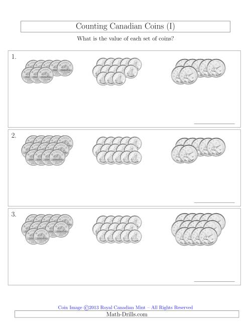 The Counting Canadian Coins Sorted Version (No Dollar Coins) (I) Math Worksheet