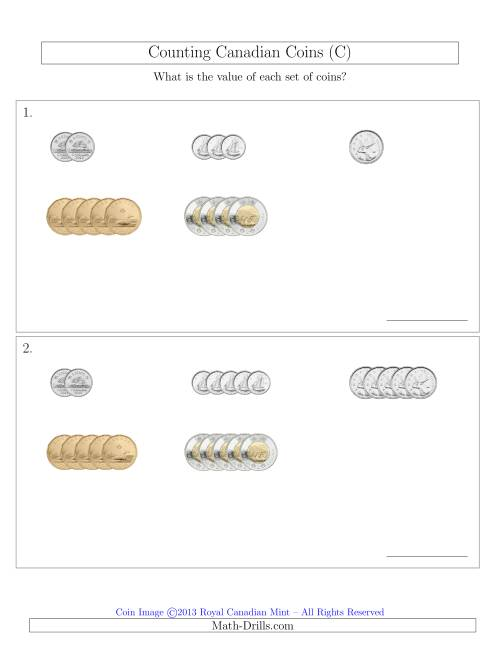The Counting Small Collections of Canadian Coins Sorted Version (C) Math Worksheet