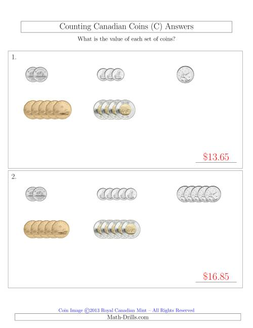 The Counting Small Collections of Canadian Coins Sorted Version (C) Math Worksheet Page 2