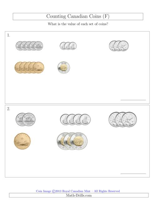 The Counting Small Collections of Canadian Coins Sorted Version (F) Math Worksheet