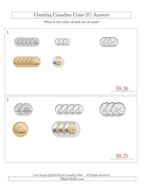 The Counting Small Collections of Canadian Coins Sorted Version (F) Math Worksheet Page 2