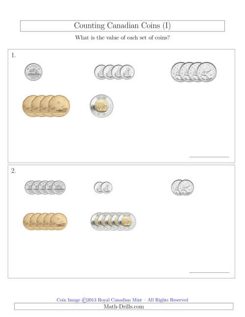 The Counting Small Collections of Canadian Coins Sorted Version (I) Math Worksheet
