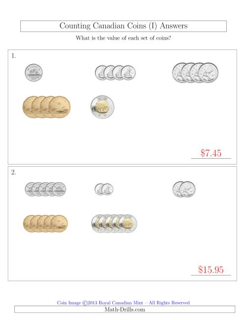 The Counting Small Collections of Canadian Coins Sorted Version (I) Math Worksheet Page 2