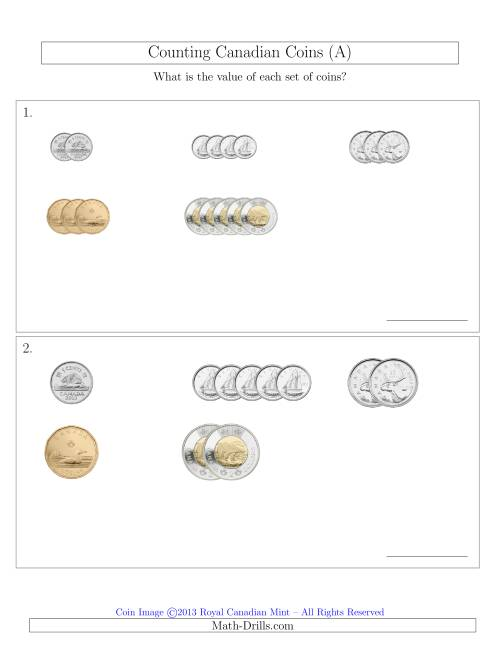 The Counting Small Collections of Canadian Coins Sorted Version (All) Math Worksheet