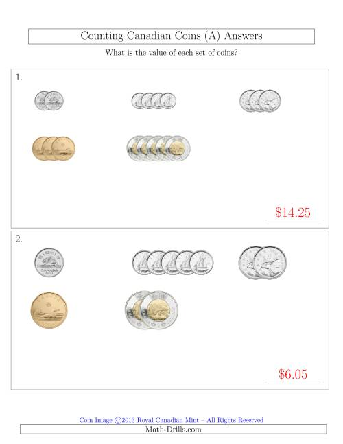 The Counting Small Collections of Canadian Coins Sorted Version (All) Math Worksheet Page 2