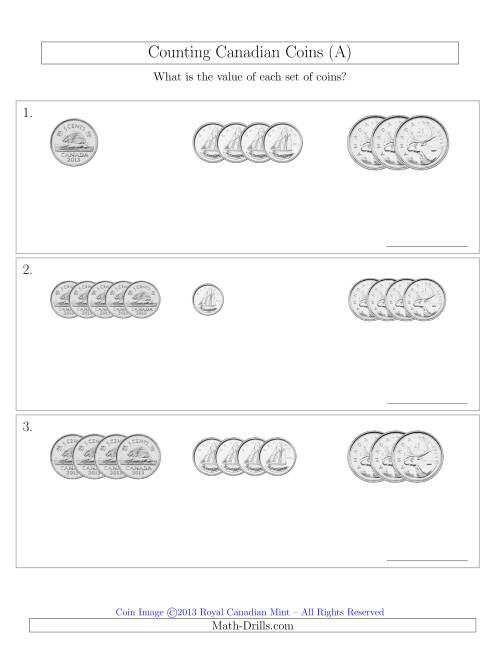 The Counting Small Collections of Canadian Coins Sorted Version (No Dollar Coins) (A) Math Worksheet