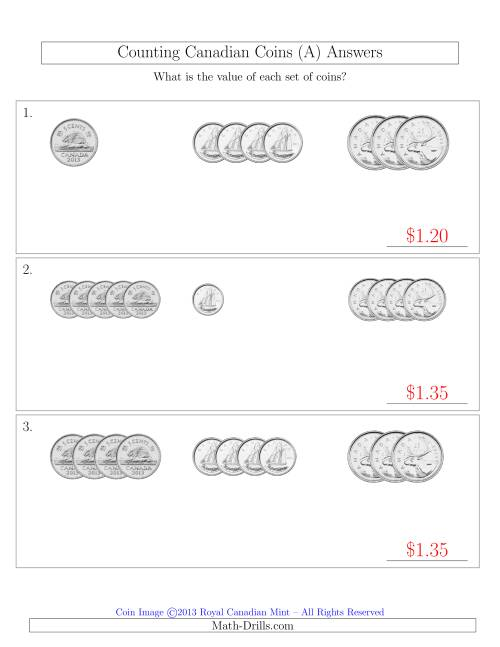 The Counting Small Collections of Canadian Coins Sorted Version (No Dollar Coins) (A) Math Worksheet Page 2