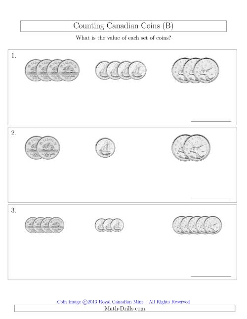 The Counting Small Collections of Canadian Coins Sorted Version (No Dollar Coins) (B) Math Worksheet