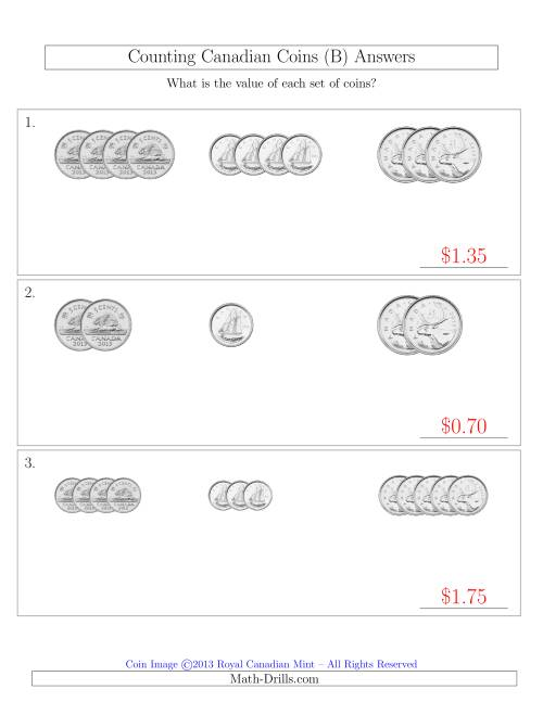 The Counting Small Collections of Canadian Coins Sorted Version (No Dollar Coins) (B) Math Worksheet Page 2